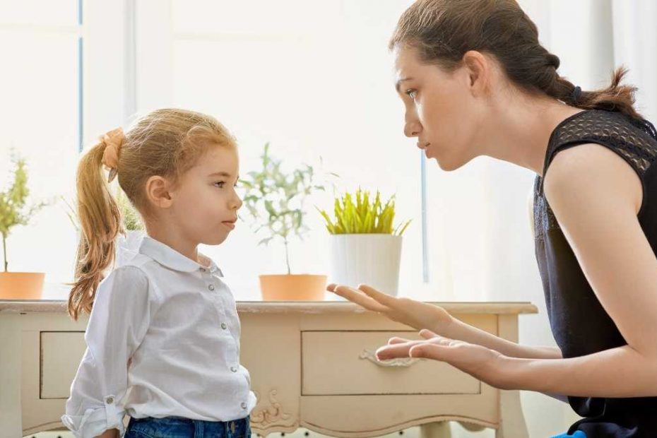 mom disciplining child