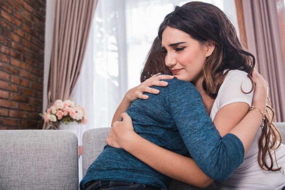 two girls hugging showing empathy