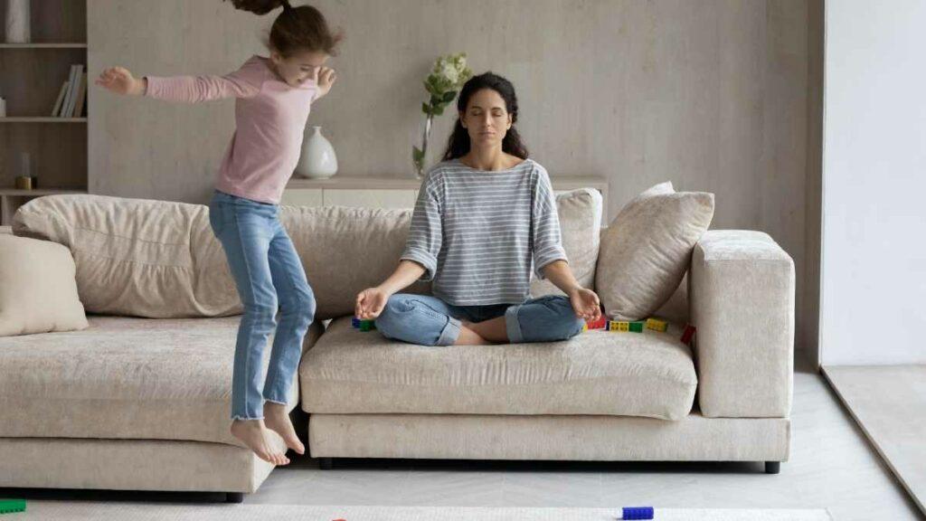 calm mom on sofa