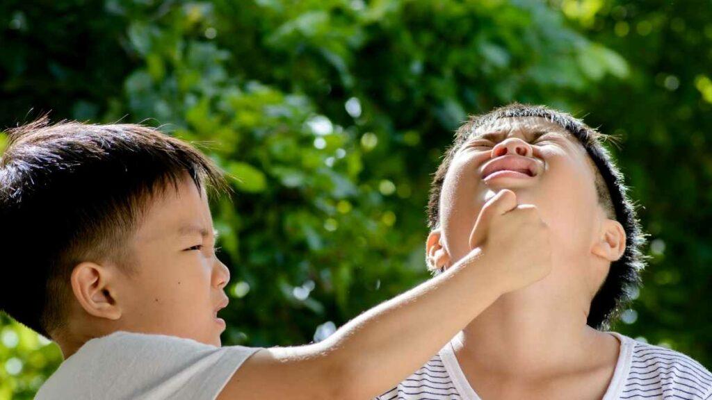 child punching sibling
